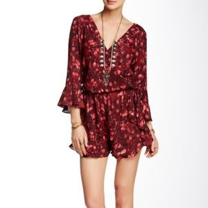 Free People All The Right Ruffles Romper Floral XS